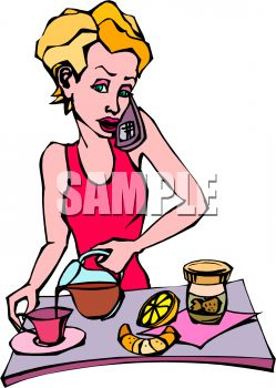 Royalty Free Clipart Image: Woman Talking on the Phone While.