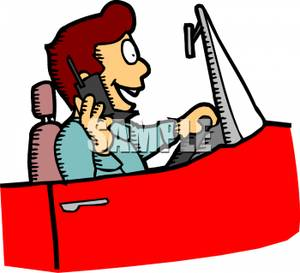Free Clipart Image: A Man Talking on His Phone and Driving.