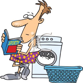 Cartoon of a Man Reading a Sports Magazine while Doing His Laundry.