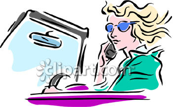 Clipart Picture of a Woman Talking on Her Cell Phone While Driving.