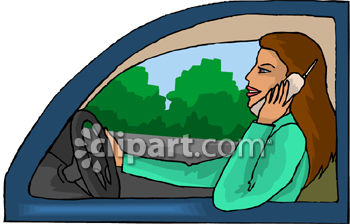 Clipart Picture of a Woman Driving a Car While Talking on Her Cell.