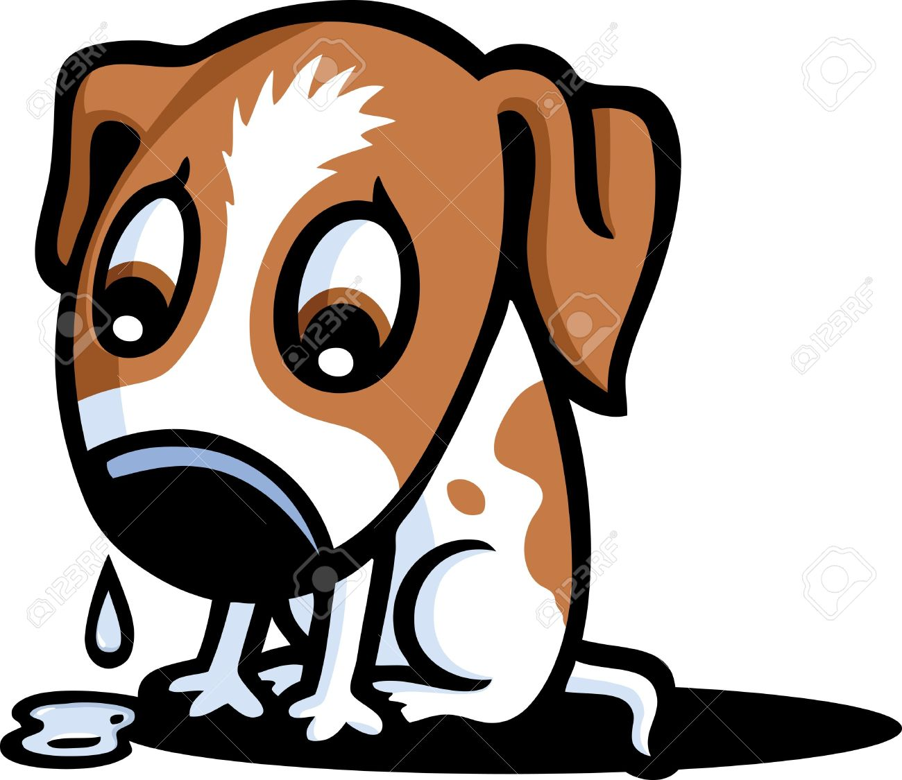 Crying dog clipart.