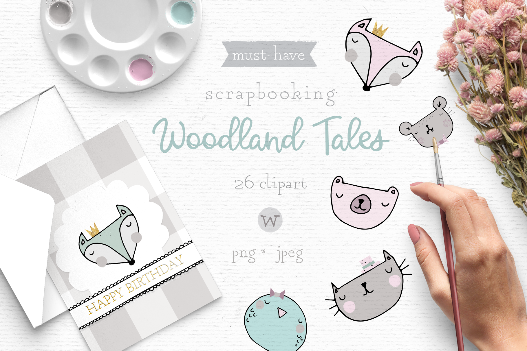 Woodland animal clipart, whimsical clipart, Scandinavian By.
