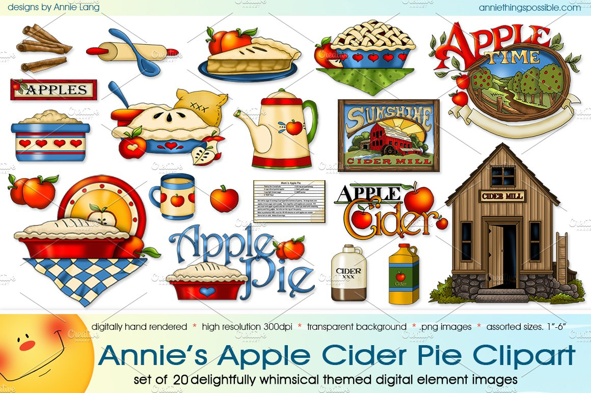 whimsical apple picking clipart #3