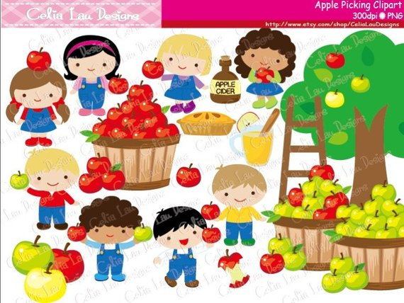 whimsical apple picking clipart #4