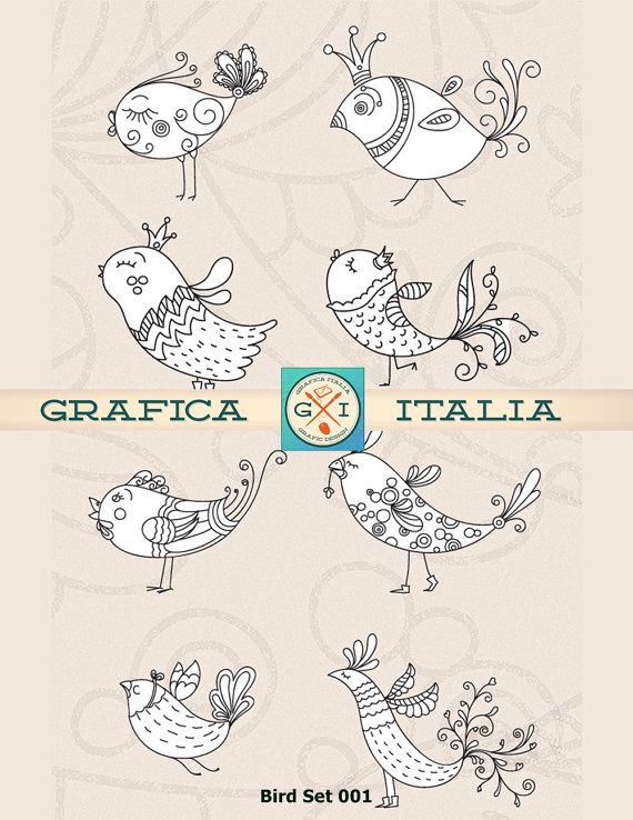 20 Doodle Bird Clip Art Whimsical Birds Digital Clipart.