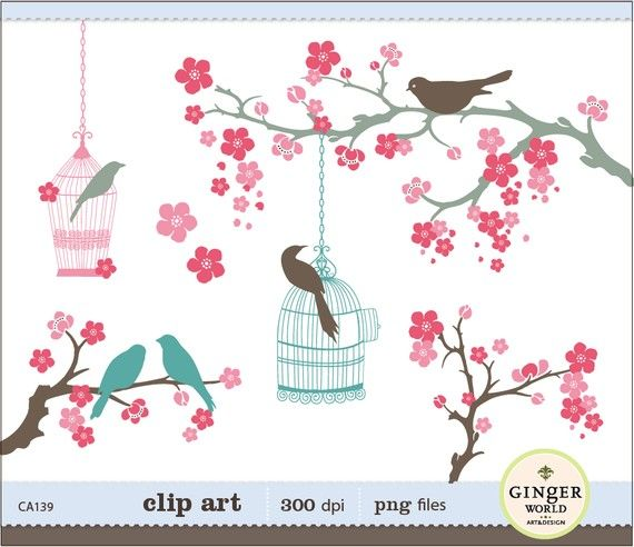 Blooming Cherry flower and whimsical birds clipart digital.