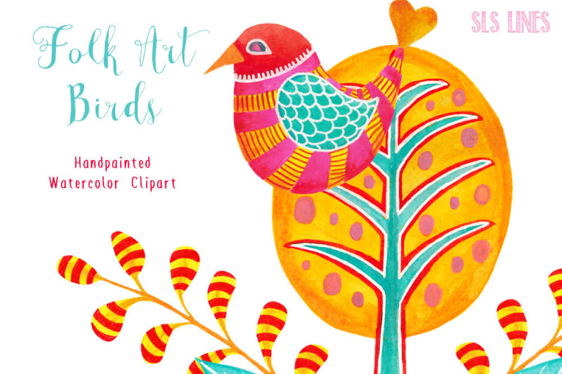Whimsical Birds & Trees Clipart By SLS Lines.