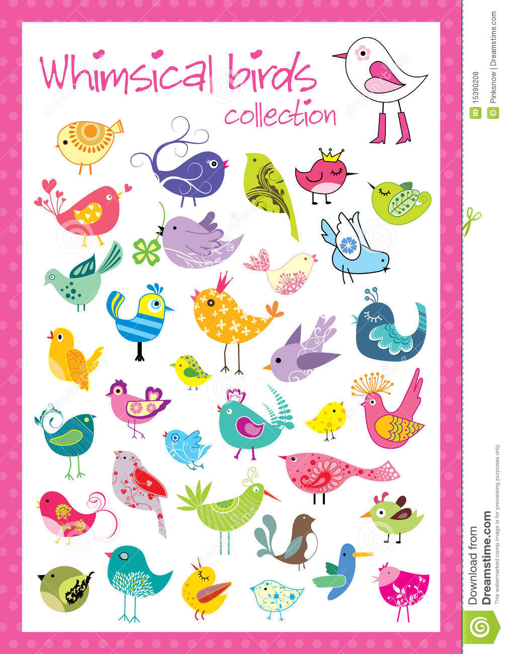 Whimsical birds collection stock vector. Illustration of fowl.