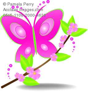 Beautiful Clip Art Image of a Whimsical Butterfly With a Branch Logo.