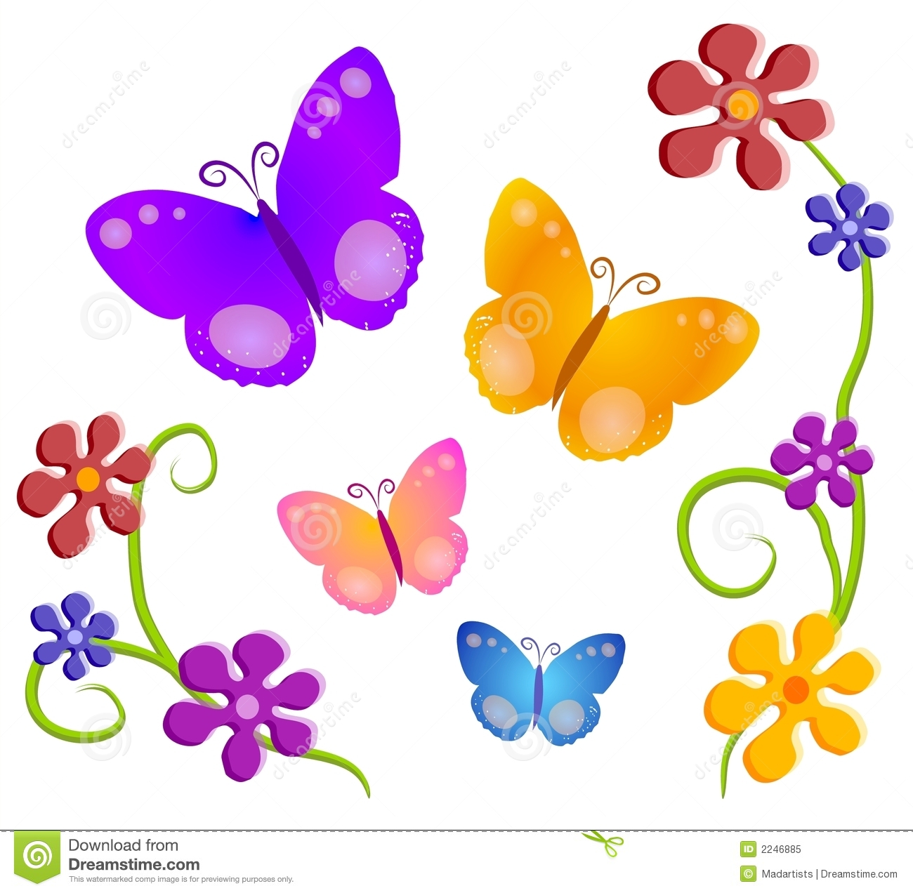 Flower And Butterfly Clipart.