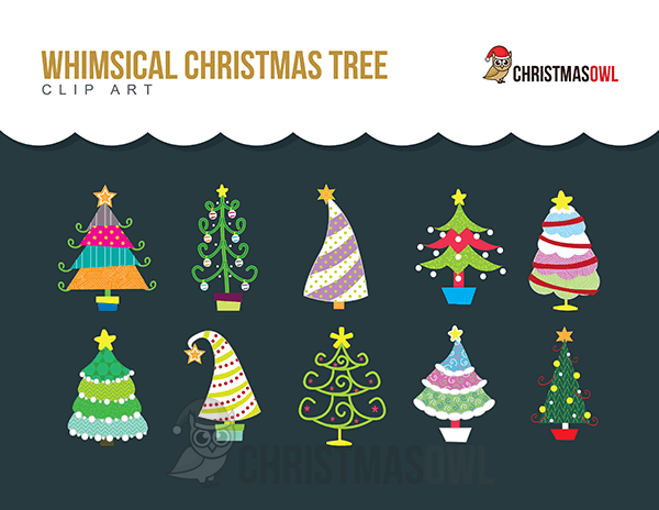 Free Whimsical Christmas Tree Clip Art.