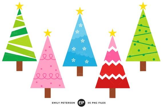 Christmas Tree Clip Art, Christmas Clipart, Whimsical Clip Art.