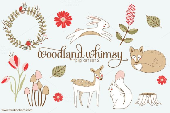 Woodland Whimsy 2 .PNG Clip Art Set.