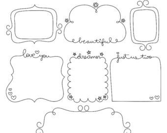 Whimsy Doodles Frames No2 Digital Stamps Clipart Clip Art.