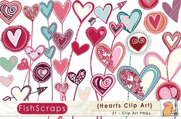 Whimsical Valentine Hearts Clip Art ~ Illustrations on Creative Market.