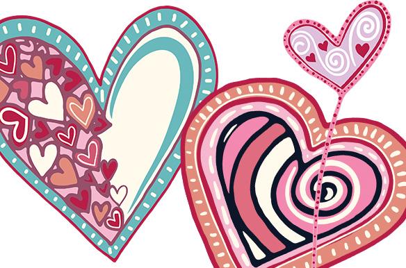 Whimsical Valentine Hearts Clip Art.