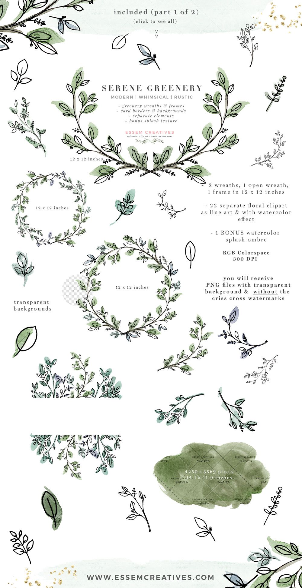 Serene Greenery Watercolor Leaves Clipart, Rustic Botanical.