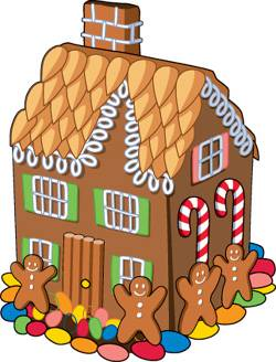 Christmas clip art gingerbread house.