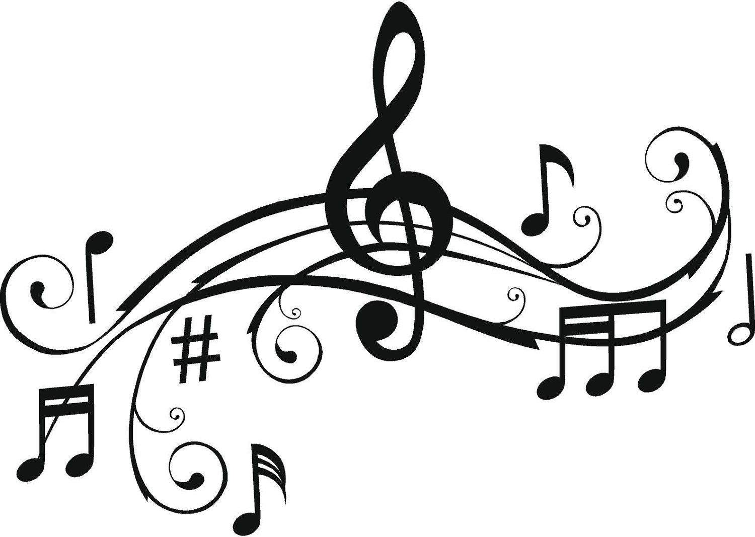 Music Notes, Wall Art Words, Vinyl Lettering, Stickers.