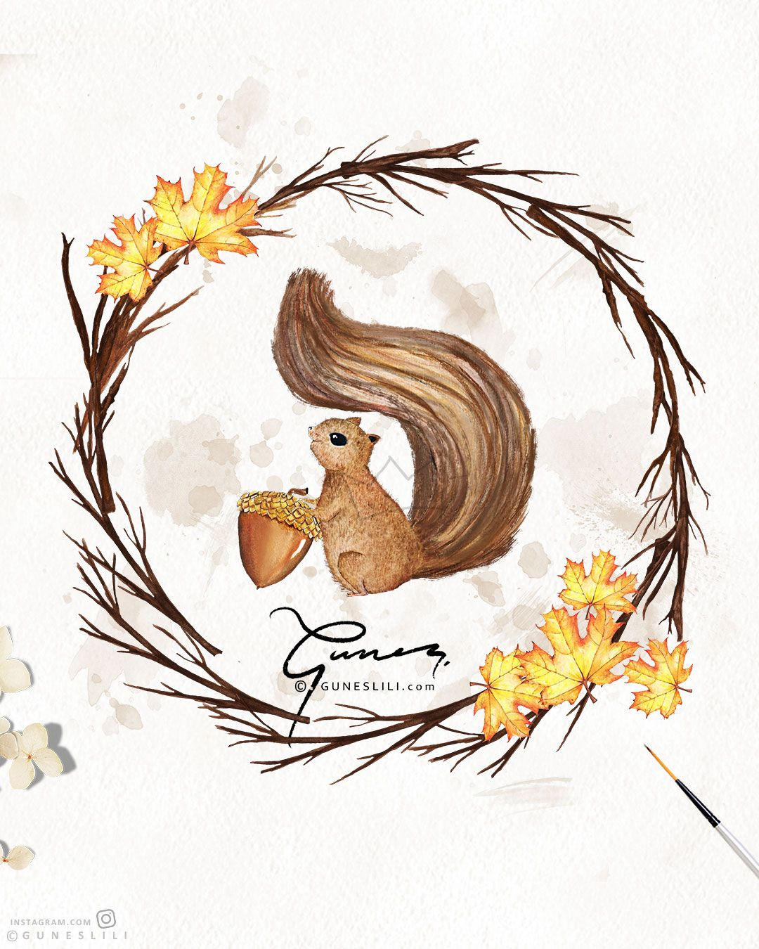 Fall Clipart Watercolor Squirrel Clipart Whimsical Clipart.
