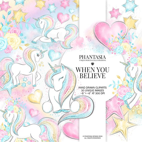 Unicorn Clipart, Whimsical Clipart, Unicorn Planner, Rainbow.