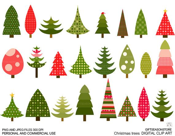 Christmas tree clip art for Personal and Commercial use.