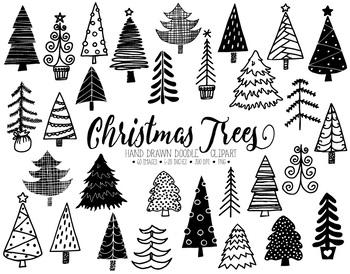 Doodle Christmas Tree Clip Art. Hand Drawn Fir, Pine Trees Illustrations..