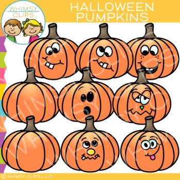 Funny Halloween Pumpkins Clip Art.