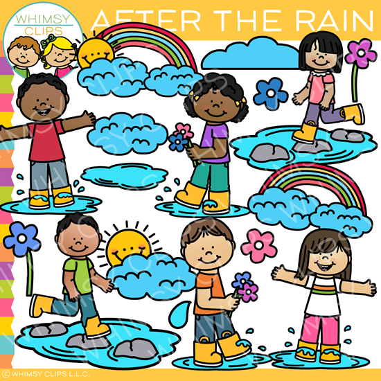 Kids After the Rain Clip Art.