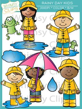 Kids in the Rain Clip Art {Whimsy Clips Spring Clip Art.