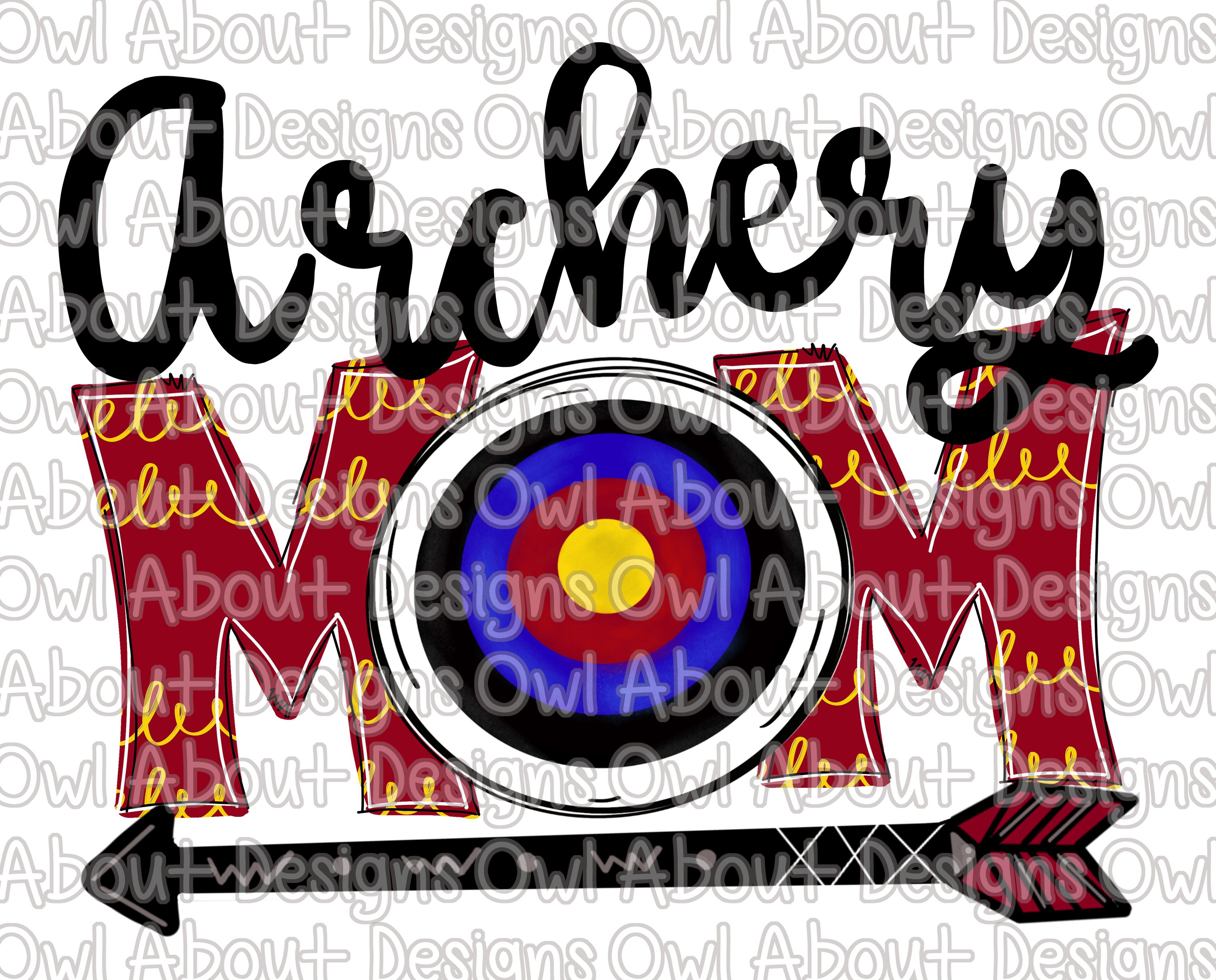 Archery Mom Digital Download. Archery. Doodle. Whimsical.