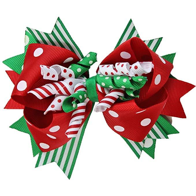 juDanzy Large Jolly Christmas Hair Bow Clip.