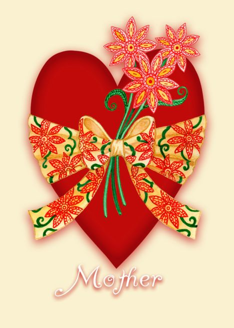 Mother, Red Valentine Heart with Bow and Whimsical Flowers.