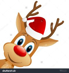 Funny Christmas Reindeer Clipart.