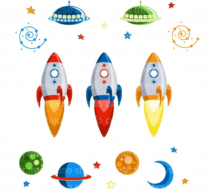 Outer Space Rocket Ships, UFOs, Planets, Galaxy Swirls, Moon.