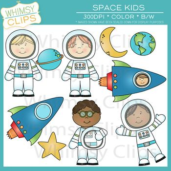 Space Kids Clip Art $ Adorable! Created by Whimsy Clips.