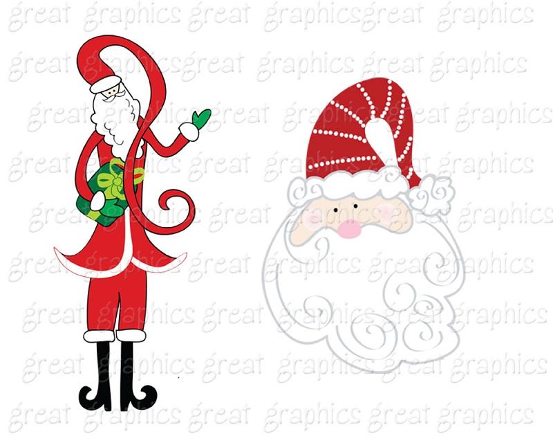 Whimsical Santa Clipart.