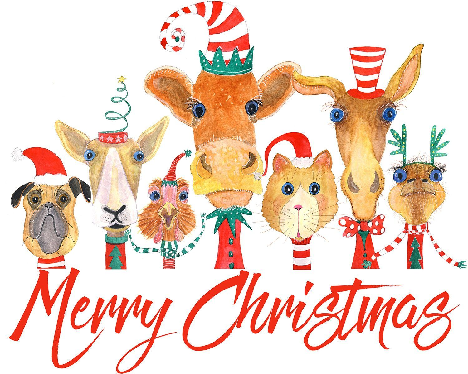 Merry Christmas Illustrated animal card, whimsical animals.
