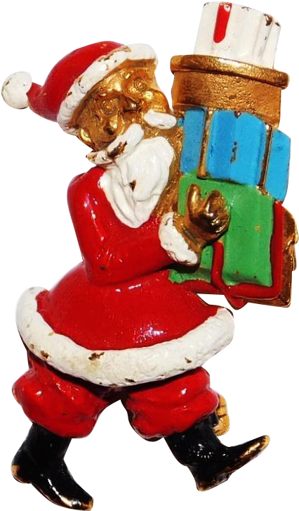 Whimsical Santa Claus Brooch Bearing Christmas Gifts.