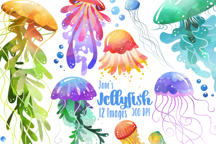 Watercolor Jellyfish Clipart Download.