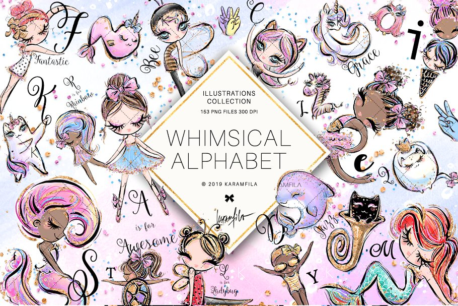 Whimsical Alphabet Clipart ~ Illustrations ~ Creative Market.