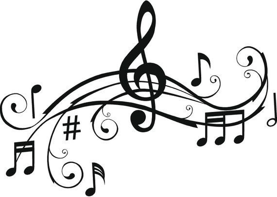 Large Music Notes Wall Art Words Vinyl Lettering Stickers.