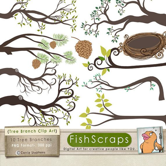 Tree Branch Clip Art, Bird Nest & Pine Cone, Tree ClipArt.