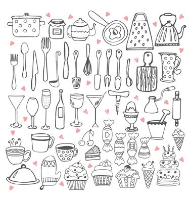 I love cooking kitchen utensils collection vector doodles by.