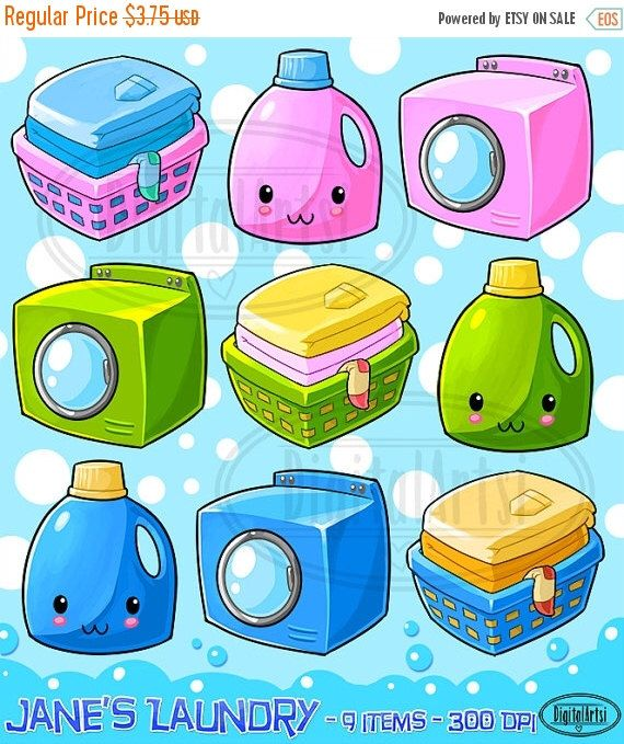 Kawaii Laundry Clipart.