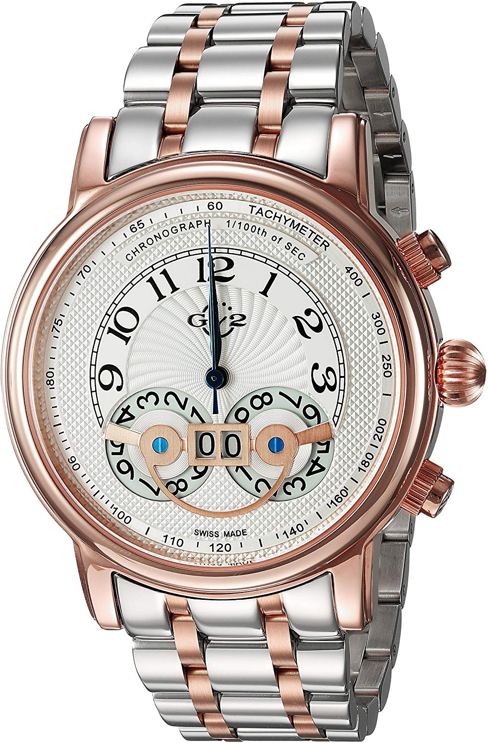GV2 by Gevril Montreux Mens Chronograph Swiss Quartz Tachymeter Round Case  Two Tone Stainless Steel Watch, (Model: 8103B).