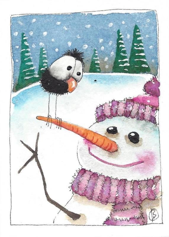 ACEO Original watercolor painting whimsical winter scene.