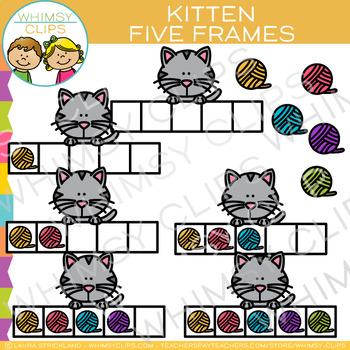 Kitten Five Frames Clip Art.