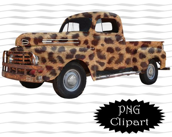 Vintage Leopard Print Truck Clipart / Old Pickup Truck.